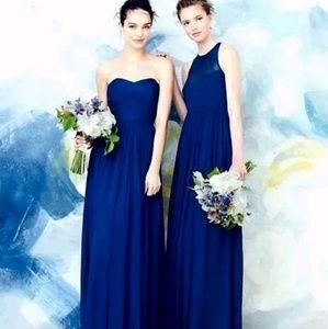 J.CREW Strapless Long Bridesmaids Dress 2 Blue